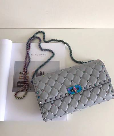 Клатч Valentino Rockstud Spike Cross Body Grey